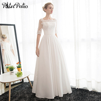 Elegant White Satin Evening Dress with Half sleeve Sexy Lace Applique Long Formal Gowns Plus Size Evening Dress New Year Party