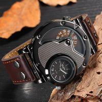 Oulm Iki Zaman Dilimi spor kol saati Askeri Ordu erkekler için Rahat PU Deri Kayış Antika Tasarımcı quartz saat Erkek Saat Kuvars Saatler Saatler -
