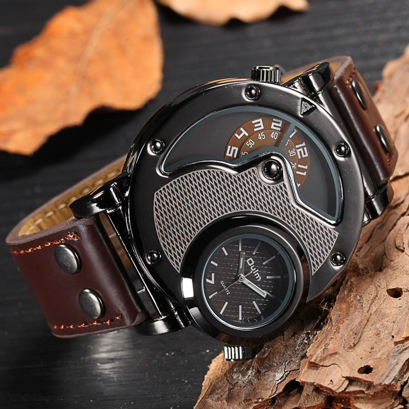 Oulm Two Time Zone Sports Wristwatch Military Army Men's Casual PU Leather Strap Antique Designer Quartz Watch Male Clock oulm new arrive double time zone sports watches men luxury brand pu leather big wristwatch male quartz watch relojes hombre
