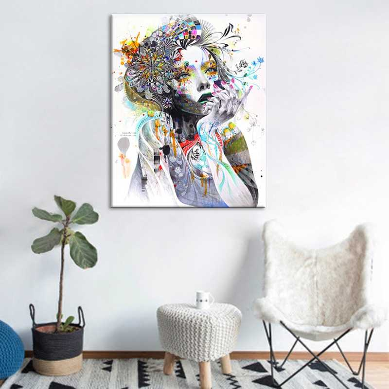 Modern Canvas Wall Art Pictures HD Prints Watercolor Girl Face With Flower Painting Psychedelic Poster Living Room Decor NoFrame