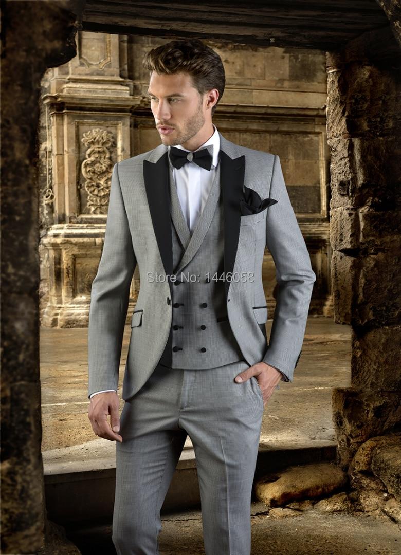 2018 Groomsmen Custom Made Light Grey Men Suit Double Breasted Vest Tailored Wedding Suits Slim Fit Groom Tuxedos For Men
