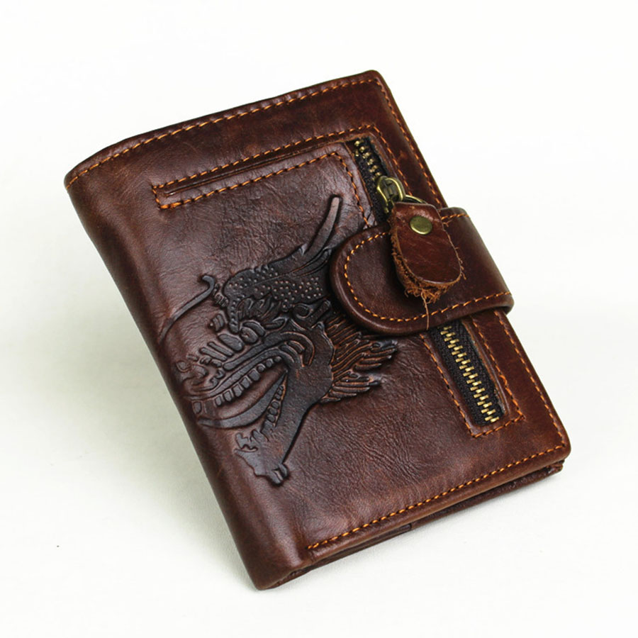 2017 New Arrival Genuine Leather 3D Embossing Dragon&Wolf Men Wallets Luxury Dollar Price Vintage Male Purse Coin Bag baellerry small mens wallets vintage dull polish short dollar price male cards purse mini leather men wallet carteira masculina