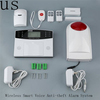 8pcs Set GSM Wireless Smart Voice Anti Theft Alarm System With LCD Display PIR Sensor Magnetic