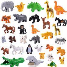 Строительные блоки, аксессуары, сельскохозяйственные животные, зоопарк, совместимые с Legoinglys, Duploed, кошка, свинья, собака, кролик, обезьяна, бегемот, овца, жираф, игрушки