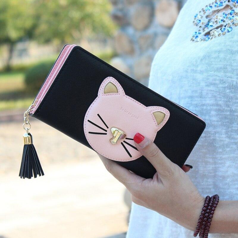 2016 new women wallet cute little cat women wallet then fight cross pattern PU long tassel
