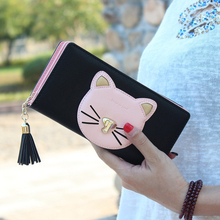 2016 new women wallet cute little cat women wallet then fight cross pattern PU long tassel zipper free delivery