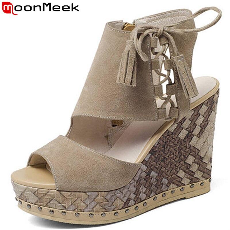 4b8913f5750 Verano Tacones Nueva Altos Color Plataforma Plataformas Negro Sandalias De  Moda Suede Moonmeek negro Mujer Zapatos ...