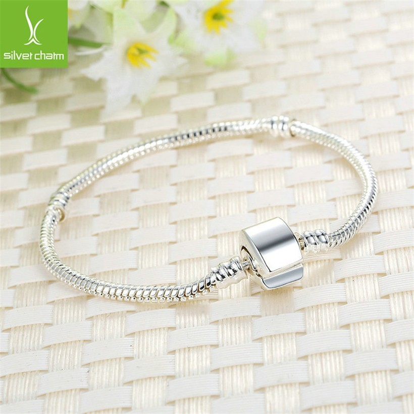 Silver Plated Basic Chains Snake Clasp European Bracelets