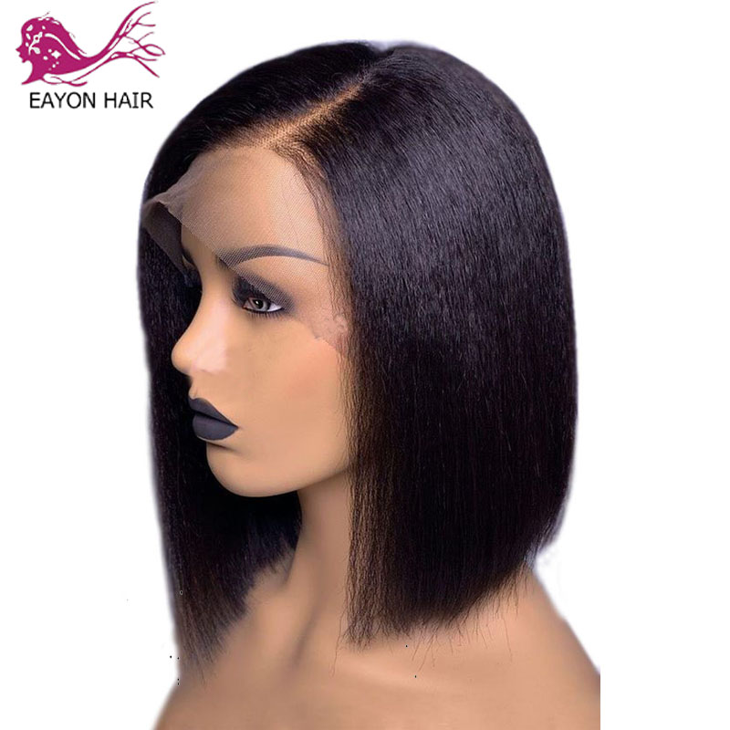 EAYON Kinky Straight 13x6 Lace Front Human Hair Wigs For Women 130% Density Coarse Yaki Brazilian Short Bob Wig Natural Color