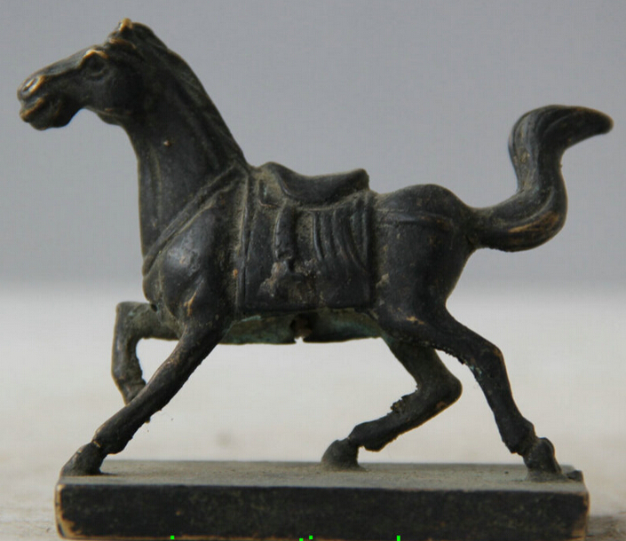 Old Chinese Bronze Zodiac Year Horse Statue Dynasty Imperial Seal Stamp Signet S0706