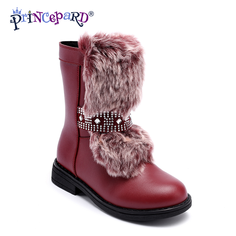 Princepard Kids Boots For Shoes or Girl Boys Kids With Girls Shoes For Children Ankle Boots Genuine Leather Kids Girl Winter