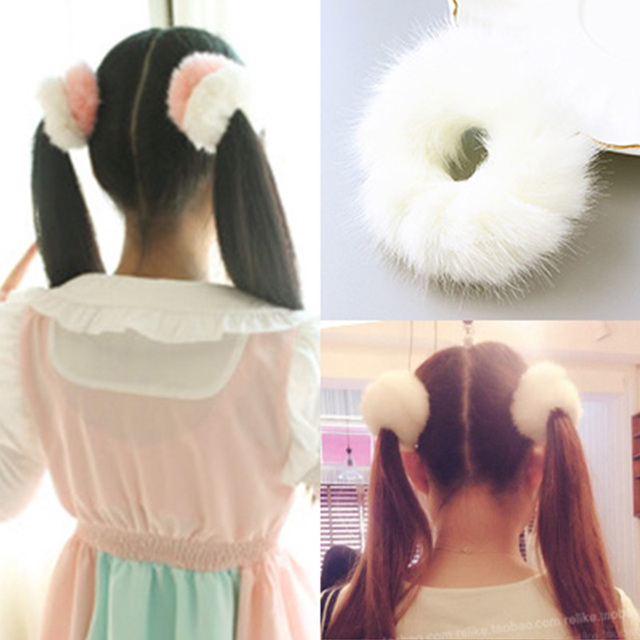Winter Wool-like Women Cute White Pink Elastic Hair Bands Tie Hair Ponytail  Holder Rubber 791cd095b0c2