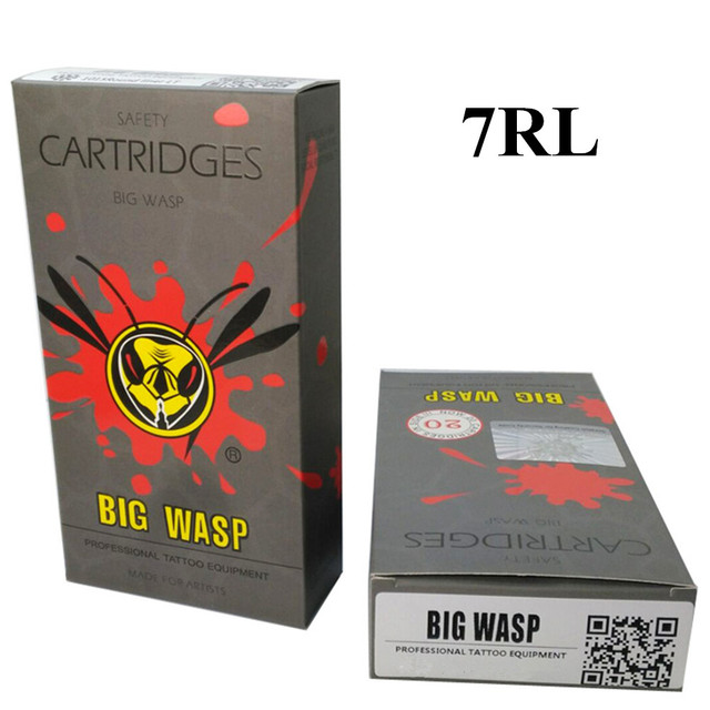 BIGWASP Gray Disposable Needle Cartridge 7 Round Liner (7RL) 20Pcs/Box