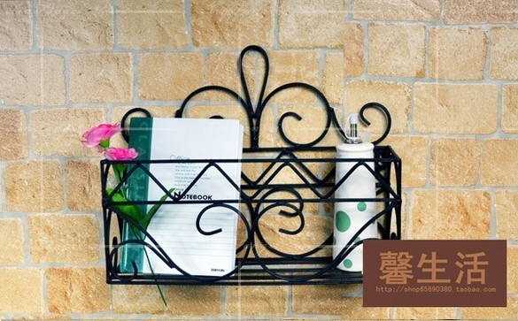 Free shipping decorative Iron craft Wall Rack shower caddy shelves bathroom rack Iron Decoration storage holder 3 colors