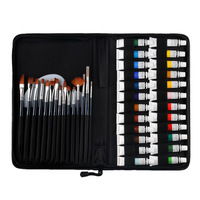 24 Colors Acrylic Paints Set With Brushes 12ml Tubes Drawing Painting Pigment for textile fabric Wall glass Artist Art Supplies