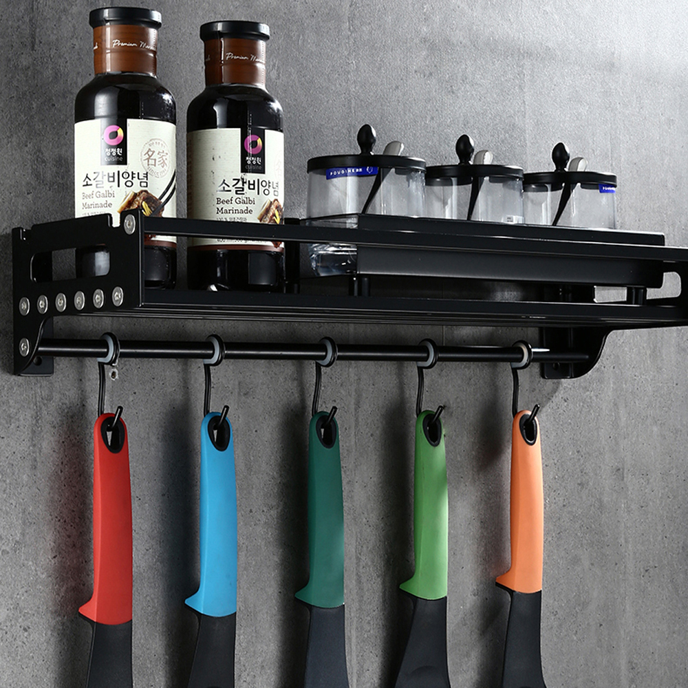 A1 Black hanger stainless steel wall-mounted storage rack with hook kitchen seasoning kitchen wall hanging wx7311506