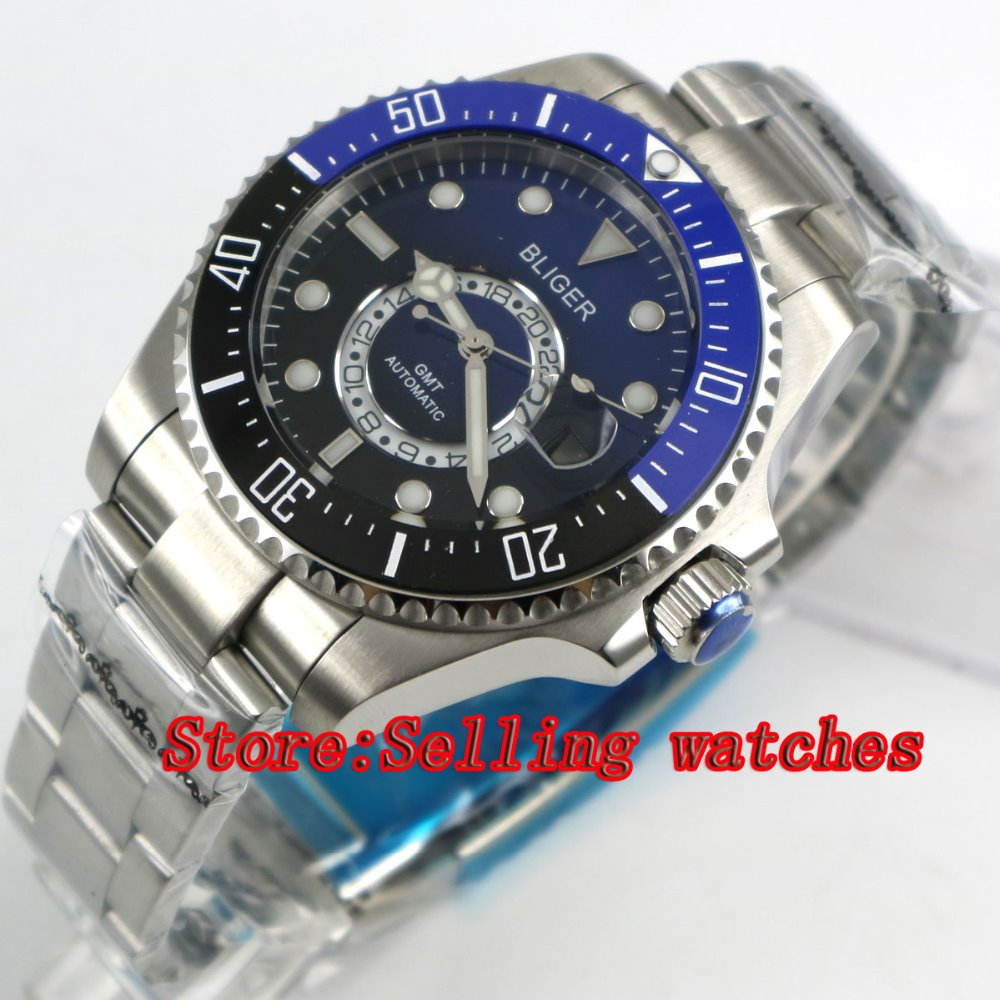 43mm Bliger Stainless Steel Case Black Blue Dial Ceramic Bezel Luminous Mechanical Mens Wristwatch