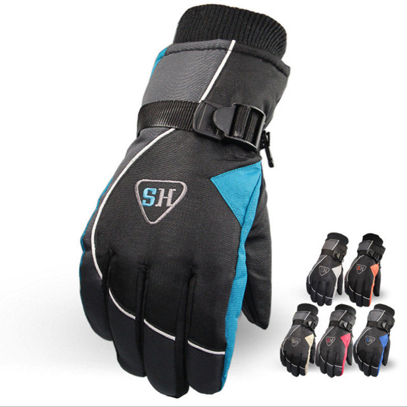 FuLang skiing outdoors warm font b gloves b font with velvet thickening water proofing antifreezing antiskidding