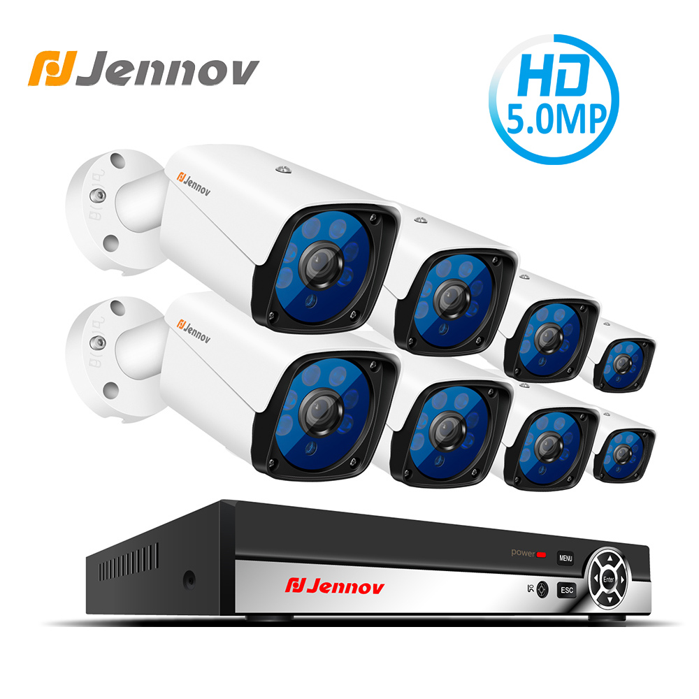 Jennov H.265 HD CCTV Camera System NVR Kit Video Surveillance POE Security Camera System 5MP IP Cam Set Metal Shell Waterproof podofo metal shell hd color video quad splitter cctv video camera processor system kit switcher remote control 6 bnc adapter