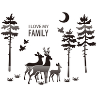 Elk family background wall 3D modern simple self adhesive atmosphere northern European style decoration silvery mirror sticker