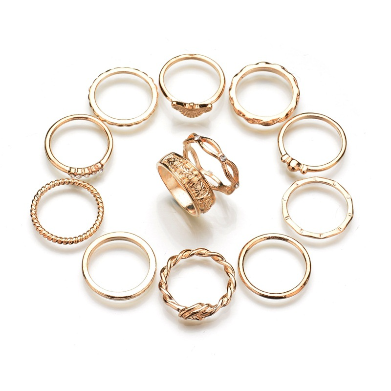 12pcs/Set Antique Silver Color Cross Crown Crystal Rhinestone Finger Rings For Women Hollow Flower Midi Knuckle Ring Set Jewelry