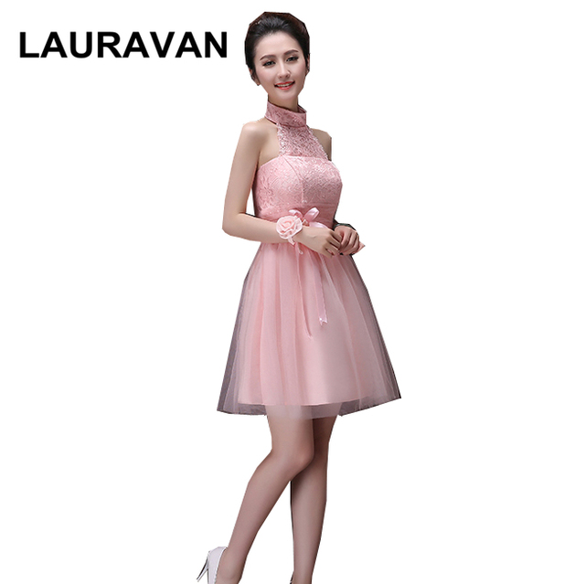468c4fb3cbcfc8 robe de soiree simple high school knee length halter neck prom dresses  light pink cheap lace dress teens ball gowns