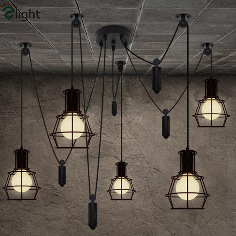Modern Pulley Iron DIY Led Pendant Chandelier Lighting Spider Dining Room Led Hanging Lights Bedroom Led Chandeliers Fixtures european chandeliers bedroom living room dining hanging lighting fixtures wrought iron black art retro chandelier e27