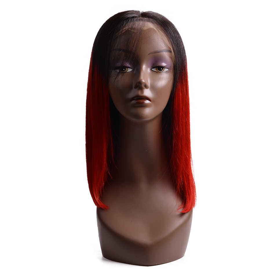 Синтетические волосы на кружеве человеческих волос парики 1B/Red короткий Боб прямая шнуровка, парики бразильский человеческих волос предварительно выщипанные волосы