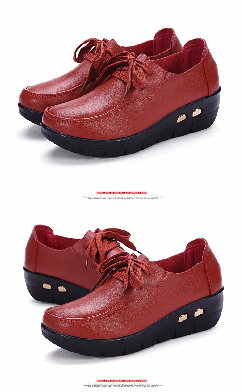 Women Oxfords Leather Shoes New Arrival Round Toe Lace Up Casual Women Flats Size 35-41 Flat Heels Platform Ladies Shoes NX27 (25)