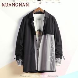 KUANGNAN Japan Style Geometric Shirt Men Streetwear Men Shirts Casual Slim Fit Korean Men Shirt Long Sleeve 5XL Clothing 2019 4