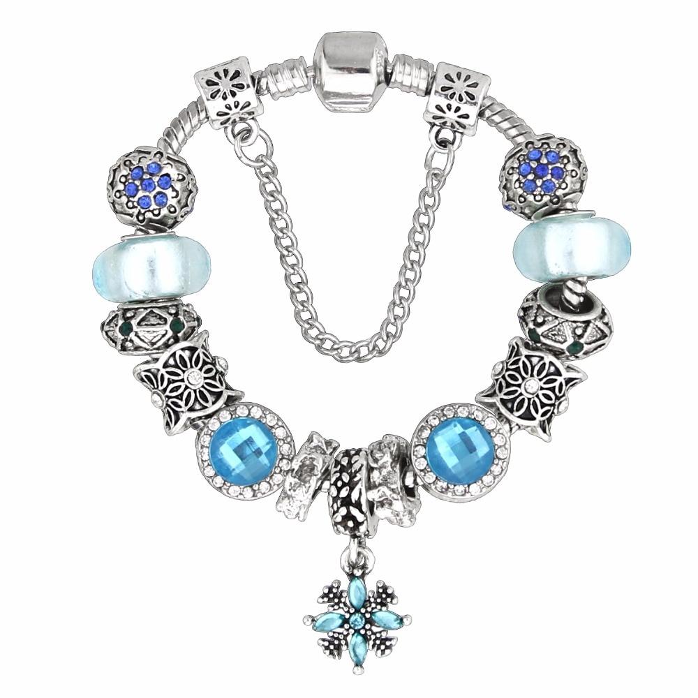 2017 Hot sale Charm sky blue zinc alloy bead couple Bracelets with DIY snowflake pendant for women fine jewelry gift KM256