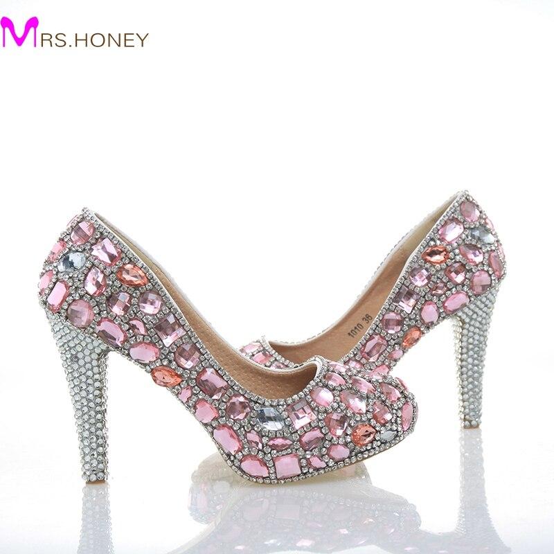 цена на Beautiful Pink Crystal Bridal Shoes Gorgeous Rhinestone High Heels Handmade Luxury Lady Evening Prom Girl Birthday Party Shoes
