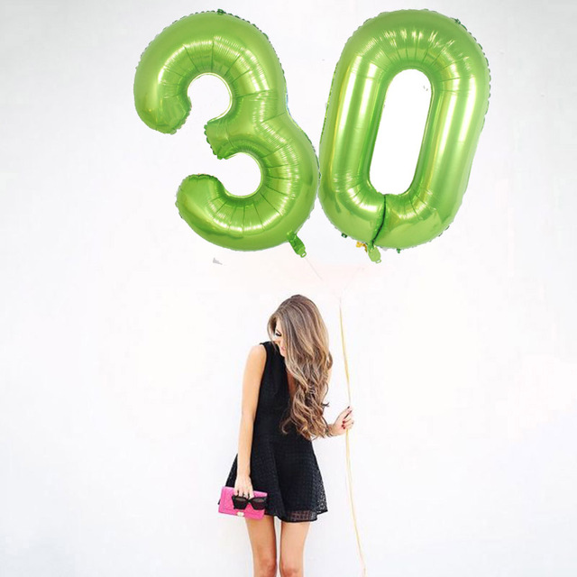 1pc 40inch Green Foil Number Balloons New Digital Helium Globo Baby Shower Happy Birthday Wedding Decoration Party Supplies in Ballons Accessories from Home Garden