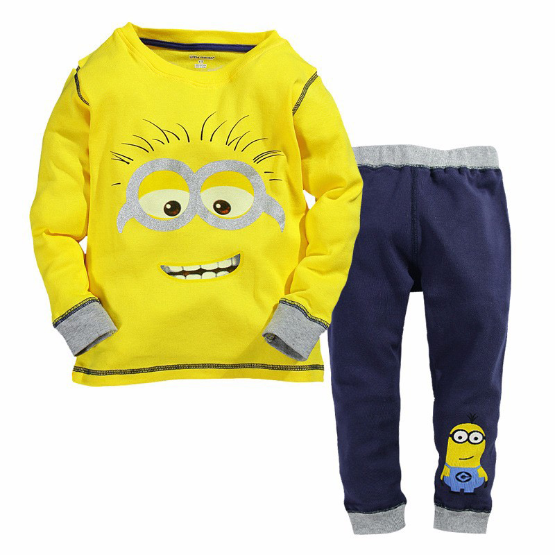New Arrive Yellow Minion Sweatshirt Clothing 100% Cotton Minion Pajamas Housewear Children Hoodies Girls Boys TZ38 2015 new arrive super league christmas outfit pajamas for boys kids children suit st 004