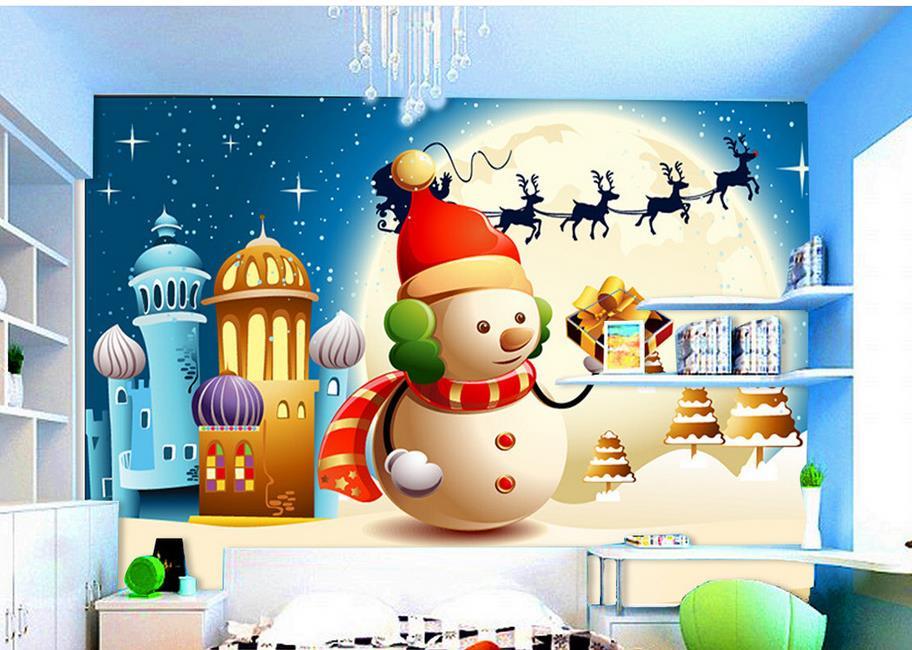 Anpassen 3d wandbilder wallpaper Cartoon Weihnachten schneemann 3d ...