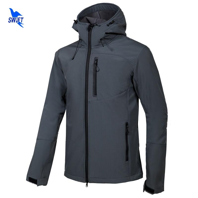 New 2019 Softshell Jacket Men Hooded Tech Fleece Waterproof Thermal Outdoor Hiking Clothing Skiing Trekking Camping