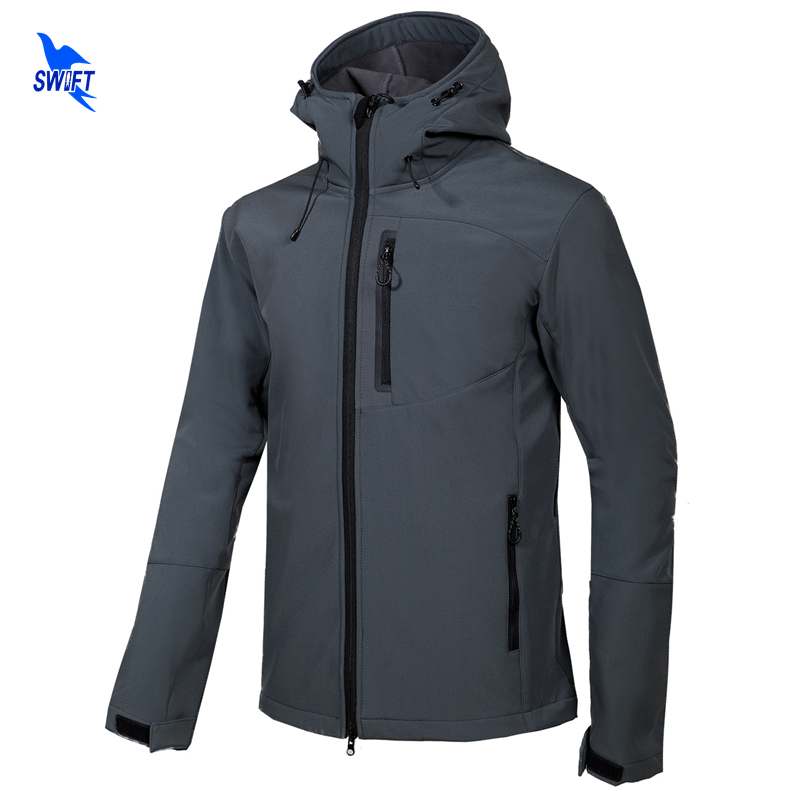 цена на New Softshell Jacket Men Hooded Tech Fleece Waterproof Thermal Outdoor Hiking Clothing Ski Trekking Camping Gore-Tex Clothes