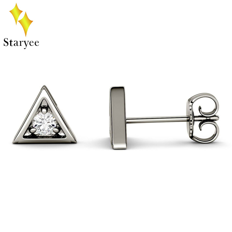 Real 14K 585 Solid Yellow Gold Triangle Pattern Engagement Stud Earring for Women Tiny Triangle Solitaire Earrings Jewelry Band pair of stylish rhinestone triangle stud earrings for women