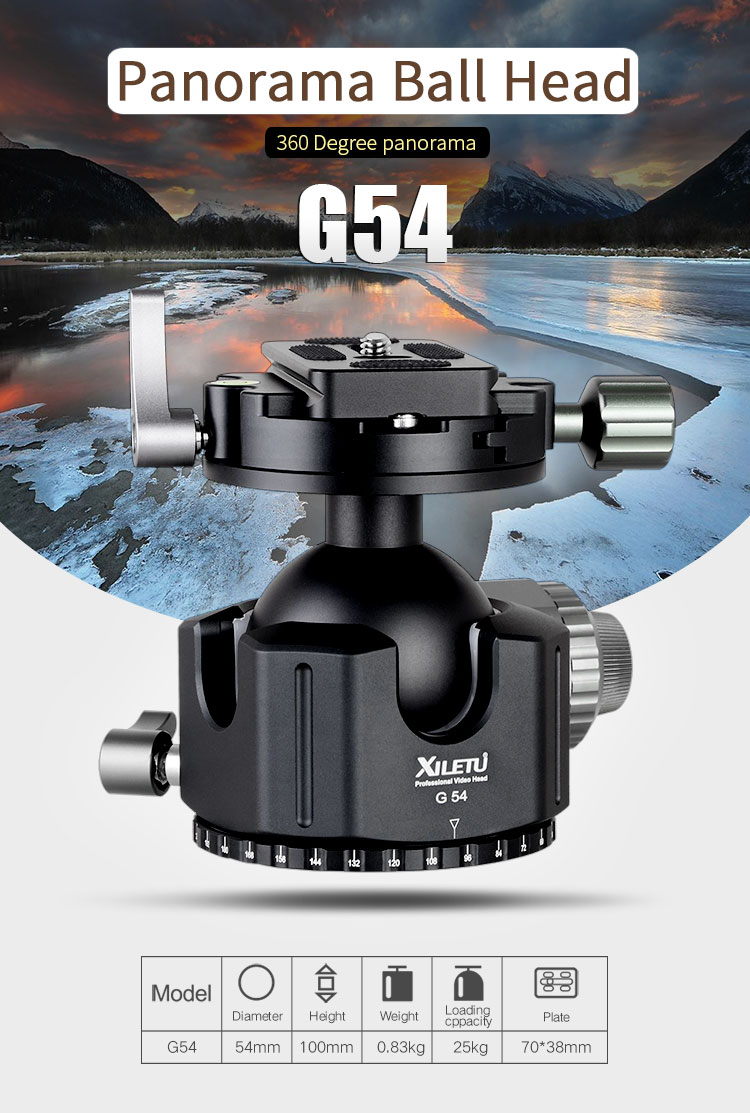 XILETU G-54 boule de trépied Tête 360 Degrés Double Panoramique Photographie Aluminium Rotule Heavy Duty Avec Quick Release Plate