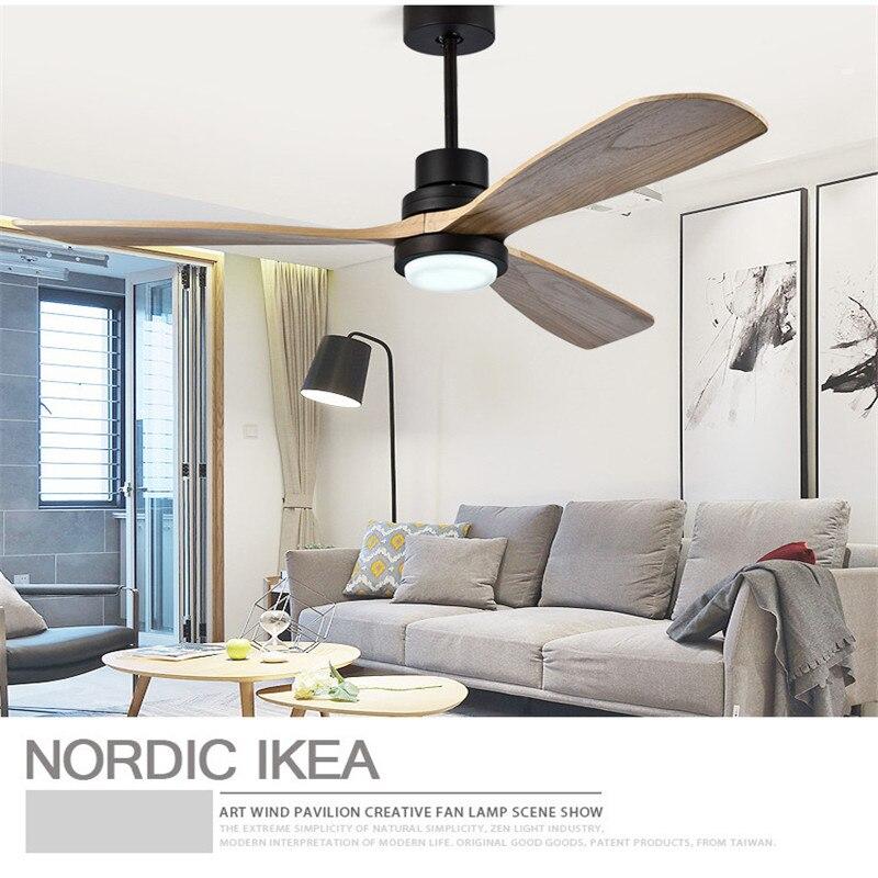 American Retro Ceiling Fan Light Nordic Modern Dinning Room Bedroom Living Room Restaurant Solid Wood Fan