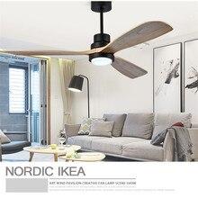 Американский Ретро потолочный вентилятор светильник Скандинавский современный столовая спальня гостиная ресторан твердый деревянный вентилятор лампа