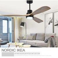 미국 복고풍 천장 팬 라이트 북유럽 현대 식당 침실 거실 식당 단단한 나무 팬 램프 무료 배송