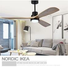 Американский Ретро потолочный вентилятор света Скандинавская Современная гостиная спальня гостиная ресторан твердый деревянный веер лампа бесплатная доставка