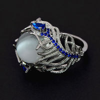 New Hot Blue Flower Moonstone Rings European Creative Vintage Ring Jewelry Woman Dropshipping 2