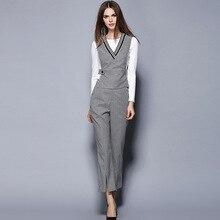 High Quality Women 's Commuter OL Slim plaid pants 3 – piece women' s set clothing 2250