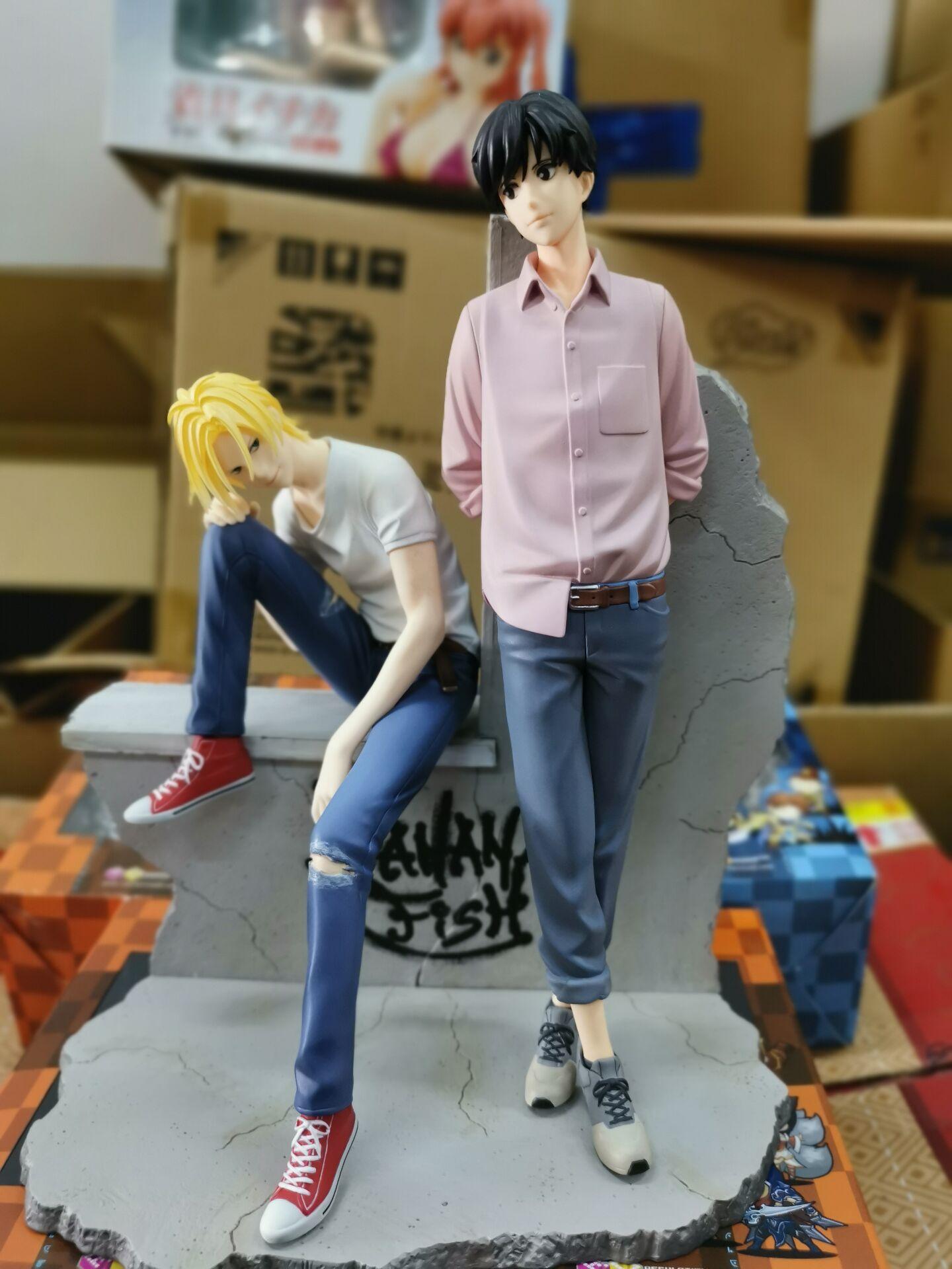 Japanese Original Anime Figure BANANA FISH Aslan Jade Callenreese/Ash Lynx Action Figure Collectible Model Toys For Boys