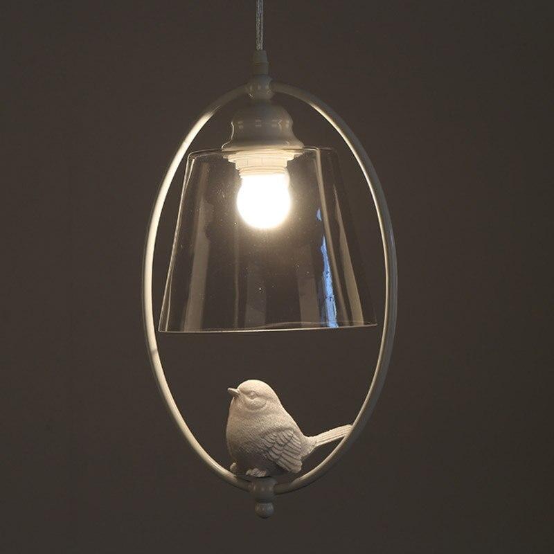 Modern Light Pendants Lamp Dining Room Kitchen Loft Glass Lampshade Resin Bird White Iron Home Lighting Fixture E27 110-220V
