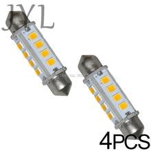 4PCS 1.55 39MM 16-2835-SMD Warm White Dome Festoon LED Reading Light Bulbs 6411