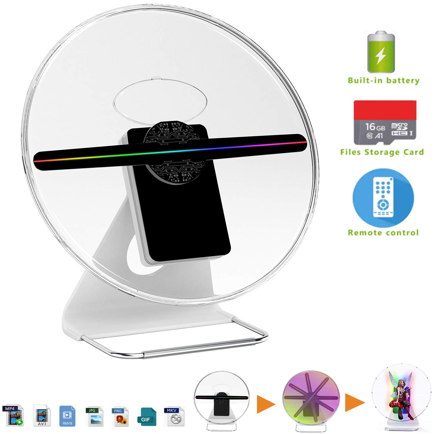 30cm 3D night light advertising hologram fan Projector light display holographic rechargeable WIFI videos holograma 16GB 256 LED