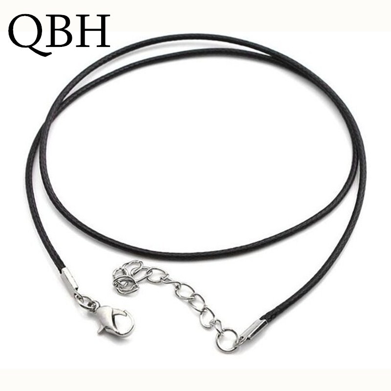 купить NK697 Hot 2.0mm Clasp String Black PU Leather Cords Rope Necklace For Women DIY Chain Necklace Accessories Jewelry Findings недорого